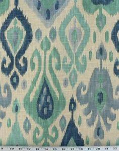ikat fabric turquoise | Django Turquoise Ikat Upholstery Fabric