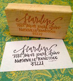 Custom Calligraphy Address Stamp. $65.00, via Etsy.