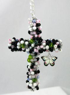 Beaded Cross by crossesintherocks on Etsy, $20.00