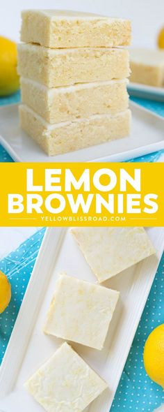 Sweet and tangy Lemon Brownies are the perfect bar for #summer! They're super easy to make and the fresh #lemon keeps the bars tasting so light. For an extra pop of flavor, add a lemon glaze to the top! #YellowBlissRoad #dessert #brownies #spring #citrus #easter #mothersday via @yellowblissroad