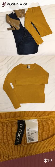 Cozy cropped sweater Cropped style sweater that's not too short! Worn twice. Unfortunately yellow/gold is not my color! I'm usually a medium, bought this as a large so it's a little longer and looser than fitted. *shoes in separate listing* Divided Sweaters Crew & Scoop Necks