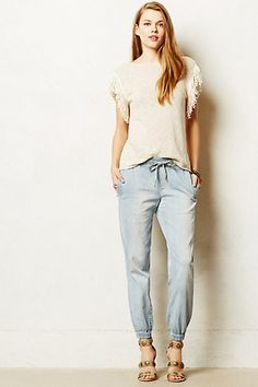 Chambray Joggers #anthropologie | very cute on