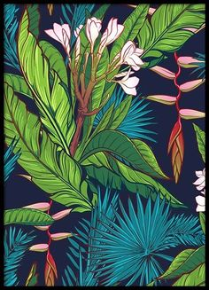 The Tropical Jungle Print wallpaper mural will give any wall a tropical vibe with its big, bold palm tree and banana leaves pattern. The bold colors and modern design of this wallpaper mural will create an on-trend backdrop for any room. Art Mural, Wall Murals, Gold Poster, Hawaiian Plants, Jungle Pattern, Murals Your Way, Tropical Wallpaper, Deco Originale, Watercolor Walls