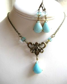 Blue jewel necklace set - glass teardrop glass stones, antiqued brass
