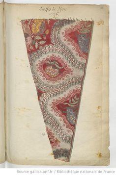 * Etoffes de Lyon // 1736 Grand échantillon au décor à la persienne à l'orientale - Echantillons d'étoffes et de rubans recueillis par le Maréchal de Richelieu