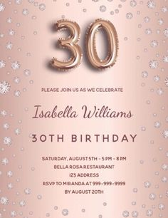 A modern, stylish and glamorous invitation for a 30th birthday party. A faux rose gold metallic looking background with pink diamonds. The name is written with a modern dark rose gold colored hand lettered style script. Personalize and add your party details. Number 30 is written with a balloon style font, script. Back: rose gold background, postcard design. 30th Birthday Party For Her, Fifty Birthday, Rose Gold Pink, Rose Gold Color, Rose Gold Backgrounds, Birthday Roses, Pink Diamonds, Pink Stars, Postcard Design