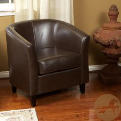 Christopher Knight Home Brown Bonded Leather Barrel Club Chair | Overstock.com Shopping - The Best Deals on Chairs