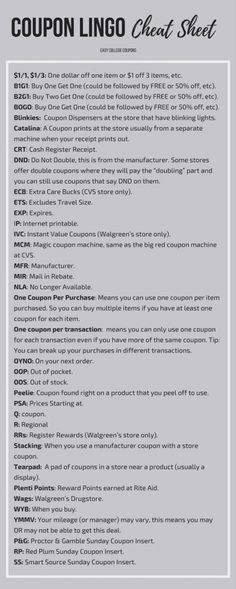 New to couponing? Use this Coupon Lingo Cheat Sheet to decipher all the abbreviations! Couponing for Beginners Tips & Tricks Saving Money How To Start Couponing, Couponing For Beginners, Couponing 101, Extreme Couponing Tips, Ways To Save Money, Money Tips, Money Saving Tips, Money Savers, Grocery Coupons