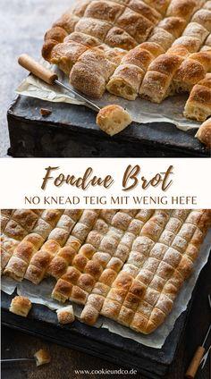 Rezept für ein super einfaches und leckeres No knead Fondue Brot. Es besteht aus wenigen Grundzutaten und kommt mit wenig Hefe aus. Nach Wunsch kann es auch hefefrei mit Lievito Madre zubereitet werden. #brot #fondue #backen #noknead #einfach