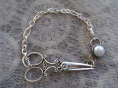 Elegant Pearl Hair Stylist Scissor Charm Bracelet. $12.00, via Etsy.