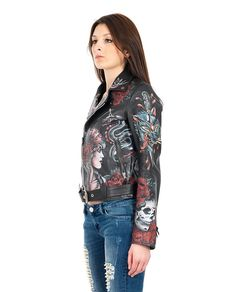 HTC Black leather studded jacket fully hand-painted V-neck  long sleeves with zippered cuffs two front zippered pockets belt loops with belt cross zipper closure 100% Leather  Lining: 100% VI