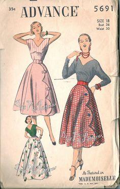 Advance 5691 Evening Blouse and Mock Wrap Skirt by DejaVuPatterns