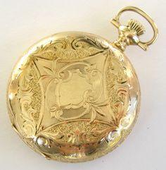 Elgin Yellow Gold Ornate Box-Hinge Hunter Case Pocket Watch (USA, circa 1910s)   1stdibs
