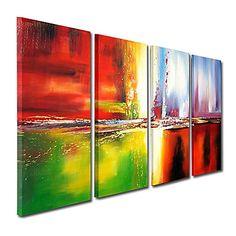met de hand geschilderd abstract olieverfschilderij met gestrekte frame - set van 4 – EUR € 107.24