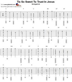 Tis So Sweet To Trust In Jesus - fingerstyle guitar tablature 1