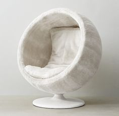 RH TEEN's Orbit Arctic White Fox Luxe Faux Fur Chair:Our spherical, low-to-the-ground lounger gives off a playful interplanetary vibe. Plushly upholstered inside and out with our supremely soft luxe faux fur, it& the ultimate place to land. Teen Room Furniture, Home Decor Furniture, Cute Bedroom Decor, Cute Bedroom Ideas, Ball Chair, Bedroom Chair, Cozy Room, Dream Rooms, My New Room