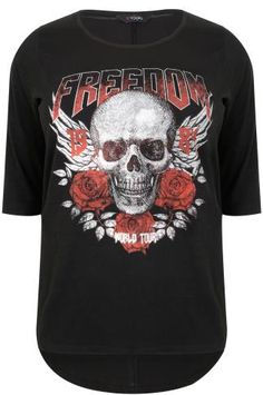 "Black ""Freedom"" Skull Print T-Shirt With 3/4 Length Sleeves"