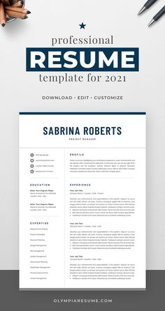 Professionally designed resume template that showcases your skills and experience in an elegant and effective way. The layout is optimized for building a resume that is informative, visually attractive and easy to navigate. The template package includes resume, cover letter and references templates in matching designs for creating a complete and consistent job application quickly and easily. Build your new resume now! #resume #resumetemplate #cv #cvtemplate #jobsearch #jobhunt #careeradvice One Page Resume Template, Modern Resume Template, Creative Resume Templates, Creative Cv, Cover Letter For Resume, Cover Letter Template, Resume References, Microsoft Word 2007, Planning Budget