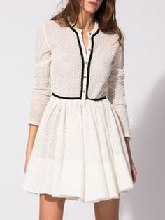 White, Hollow Lace Overlay, Long Sleeve, Skater Dress
