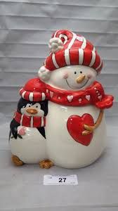 Snowman and Penguin Cookie Jar