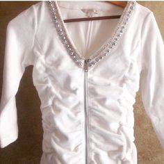 Clearance lowest Pretty White Terry Suit 2pc warm up suit. Terry material and very soft . Jacket has beautiful embellishments. Size small (6-8) pure white Boston Proper Tops