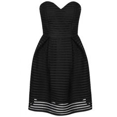 Black Mesh Stripe Bandeau Dress ($59) ❤ liked on Polyvore featuring dresses, horizontal striped dress, stripe dresses, glamorous dresses, strapless bandeau dress and striped dress