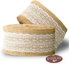 Amazon.com: Burlap Ribbon with White Lace - 39 Feet Long - Burlap Lace Ribbons.
