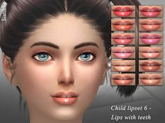 12 pale and natural colors for children Found in TSR Category 'Sims 4 Female Lipstick'