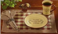 York country kitchen placemats in wine from Park Designs. cotton fabric in wine and tan large check with a border of mini check fabric. Country Kitchen Tables, Dining Table In Kitchen, Country Crafts, Country Decor, Kitchen Placemats, Dining Table Runners, Wine Table, Primitive Crafts, Cloth Napkins