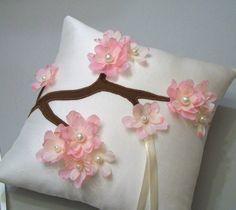 Pink Cherry Blossoms Ring Bearer Pillow