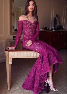 4649baa2c8 Tulle   Lace Jewel Long Sleeve Purple Hi-lo Mermaid Evening Dress. Majda ·  Cheap Prom Dresses 2019