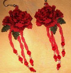 Rose Beadwork Earrings by Wooley Creek