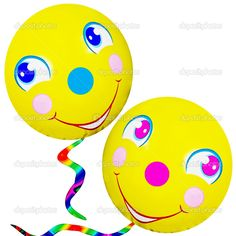 happy faces | Two cute, happy, smiley faced balloons with colorful strings, on a ...