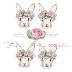Free printable shabby bunnies by Shabby Art Boutique - Ostern - Free Rabbits, Shabby, Easter Stickers, Illustration Botanique, Bunny Party, Easter Egg Designs, Bunny Birthday, Vintage Easter, Illustrations