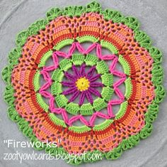 Zooty Owl: Fireworks Doily / Mandala - free crochet pattern by Zelna Olivier. with dk cotton and hook. Crochet Mandala Pattern, Doily Patterns, Crochet Doilies, Crochet Flowers, Crochet Patterns, Crochet Round, Crochet Squares, Crochet Home, Crochet Crafts
