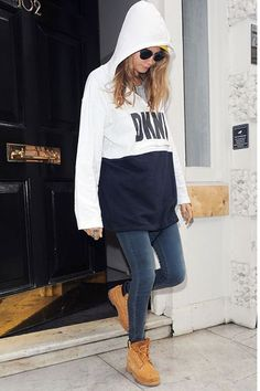 Keepin' it real, Cara. #refinery29 http://www.refinery29.com/cara-delevingne-timberland-outfit#slide-1