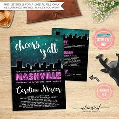** Please be sure to read ALL listing wording below ** Bachelorette Weekend Invite, Itinerary Nashville, Night Sky (Printable File Only) Nashville Bachelorette, Bachelorette Weekend, Hot Pink   Get your favorite girls today and head to Music City for some bachelorette fun! Your Bachelorette Invitations, Bachelorette Weekend, Bachelorette Parties, Invite, Weekend In Nashville, Night Skies, Showers, Hot Pink, Stationery