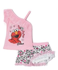 Children s Apparel Network Pink Elmo Asymmetrical Tank   Leopard Skirt -  Toddler 4cb60b7b5