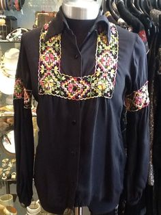Vintage Stunning Alice Stuart Black Cotton Embroidered Blouse UK 8/10s