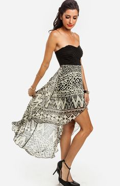 Tapa Print High Low Dress