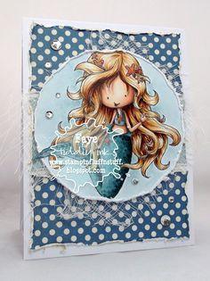 Stampin Fluffnstuff: Wryn the Mermaid image by Tiddly Inks - Background; BG70, BG72, Skin; E000, E00, E01, E11, E71, Hair; E51, E53, E33, E39, E18, Turquoise; BG72, BG75, BG75. BG78, Orange; YR14, YR18, E07