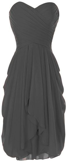 Onlinedress Women's Ruffles Bridesmaid Dress Short Party Gown Size 4 Grey