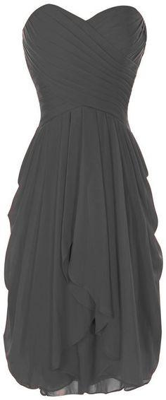 Onlinedress Women's Ruffles Bridesmaid Dress Short Party Gown Size 4 Grey