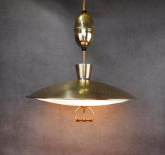 Mid Century Brass Pull Down Light Retractable Chandelier, Atomic UFO Saucer Light by FireflyVintageHome on Etsy