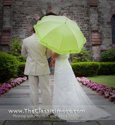 lime green umbrella