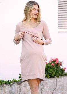 Winter Mama Journey Fleece Pregnancy Dress in Pink by Trimester Maternity Pads, Maternity Nursing Dress, Maternity Dresses, Pregnancy Dress, Pre Pregnancy, Nursing Pads, Fleece Fabric, Designer Dresses, Journey