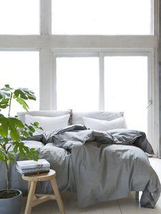 bedroom, bedding, white, light grey