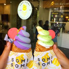 """Somi Somi has become a recent Instagram favorite """"like,"""" appealing to millennials and foodies for its unique cone and colorful swirling colors. Located on the second floor of the interior of Madang Mall plaza in Koreatown, Somi Somi is about a ten-minute drive from downtown Los Angeles. They only sell Korean-style """"Ah-Boong,"""" a very popular …"""