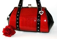 Ruby Red Sparkle Vinyl Purse with Black Gloss by HOLDFASThandbags, $140.00