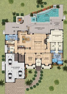Mediterranean Style House Plan - 4 Beds 5.00 Baths 4080 Sq/Ft Plan #548-15 Floor Plan - Main Floor Plan - Houseplans.com